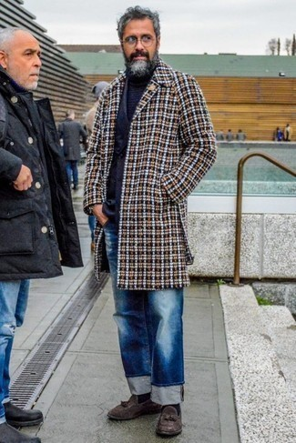 How to Wear Blue Ripped Jeans For Men: The combination of a multi colored plaid overcoat and blue ripped jeans makes for a solid laid-back menswear style. Want to go all out when it comes to shoes? Introduce a pair of dark brown suede tassel loafers to the mix.