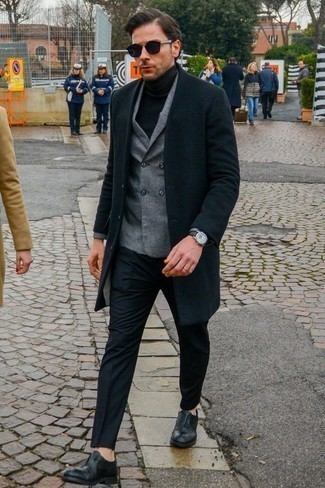 How to Wear a Black Leather Watch In Cold Weather For Men: Pair a black overcoat with a black leather watch for an off-duty getup with a contemporary spin. Black leather oxford shoes will instantly class up even the simplest ensemble.