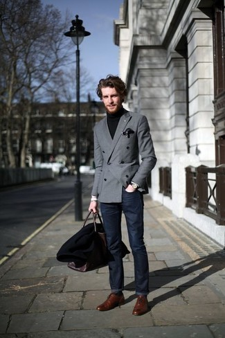 Grey Blazer with Blue Jeans Outfits For Men: Putting together a grey blazer and blue jeans is a fail-safe way to inject a classy touch into your day-to-day fashion mix. A pair of brown leather oxford shoes will give a different twist to an otherwise standard ensemble.