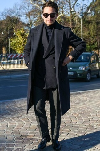 Socks Dressy Outfits For Men: Opt for a black overcoat and socks for a casual level of dress. Navy leather tassel loafers are guaranteed to bring a hint of sophistication to your look.