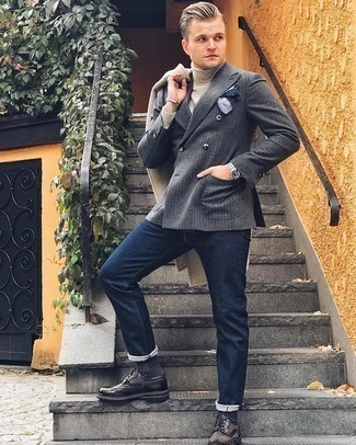 Charcoal Socks Outfits For Men: A beige herringbone overcoat and charcoal socks are a smart combination that will effortlessly take you throughout the day. For a more refined spin, why not complete your getup with charcoal leather brogues?