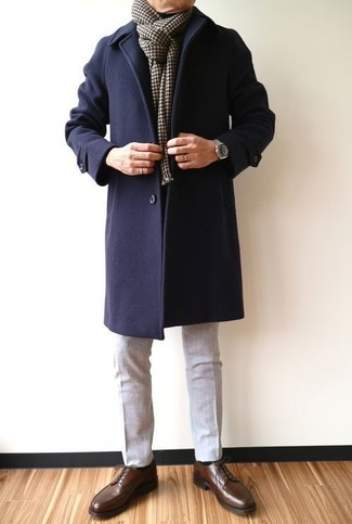 How to wear: navy overcoat, grey wool dress pants, dark brown leather derby shoes, dark brown check scarf