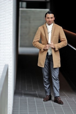 Grey Dress Pants Outfits For Men: This combo of a camel overcoat and grey dress pants is a winning option when you need to look like a men's fashion guru. You can take a more laid-back approach with shoes and introduce dark brown suede derby shoes to the equation.