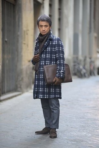 How to Wear a Dark Brown Leather Zip Pouch For Men: A navy plaid overcoat and a dark brown leather zip pouch are indispensable menswear items to have in the casual part of your wardrobe. Up the appeal of your outfit by rocking a pair of dark brown suede double monks.