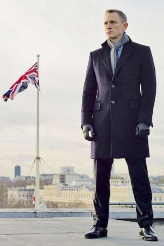Daniel Craig wearing Navy Overcoat, Black Dress Pants, Black Leather Dress Boots, Grey Scarf