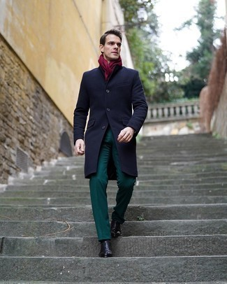 Leather Shoes with Dark Green Pants Outfits For Men: Pairing a navy overcoat and dark green pants is a guaranteed way to inject class into your closet. Finishing off with a pair of black leather oxford shoes is an effortless way to bring a bit of zing to your ensemble.