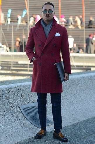 How to Wear Brown Leather Tassel Loafers: Hard proof that a burgundy overcoat and navy check dress pants are amazing when married together in an elegant look for today's gentleman. Brown leather tassel loafers are a wonderful choice to complement your outfit.