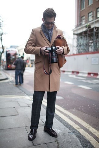 How to Wear a Pocket Square In Cold Weather: One of the most popular ways for a man to style out a camel overcoat is to pair it with a pocket square for a laid-back outfit. Here's how to lift up this ensemble: dark purple leather tassel loafers.