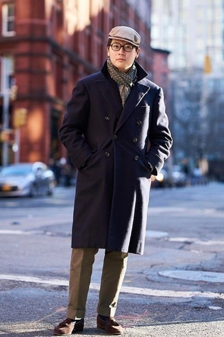 Olive Polka Dot Scarf Outfits For Men: This off-duty combination of a navy overcoat and an olive polka dot scarf is capable of taking on different nuances depending on how you style it. If you want to effortlessly dial up this look with one single item, why not introduce brown suede tassel loafers to the equation?
