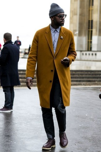 How to wear: tobacco overcoat, light violet dress shirt, black chinos, dark brown leather brogues