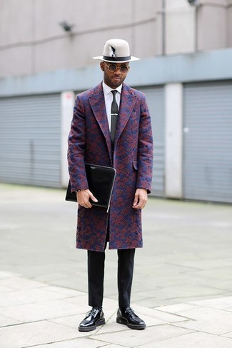 How to wear: navy floral overcoat, white dress shirt, black chinos, black leather derby shoes