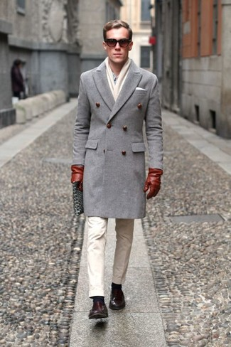 How to wear: grey overcoat, light blue dress shirt, beige chinos, dark brown leather loafers