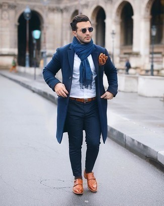 Gloves Outfits For Men: Opt for a navy overcoat and gloves for an easy-to-style outfit. To introduce some extra fanciness to your outfit, complete this look with a pair of tobacco leather double monks.