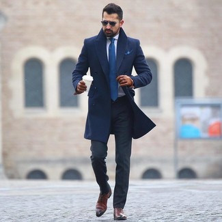 How to wear: navy overcoat, white dress shirt, charcoal dress pants, brown leather oxford shoes