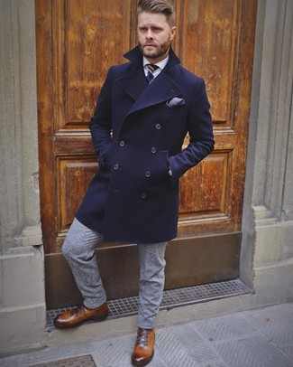 How to wear: navy overcoat, white dress shirt, grey wool dress pants, brown leather casual boots