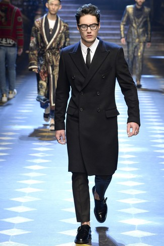 How to wear: black overcoat, white dress shirt, black dress pants, black leather monks