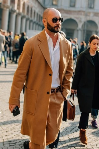 How to wear: camel overcoat, white dress shirt, khaki wool dress pants, black leather derby shoes