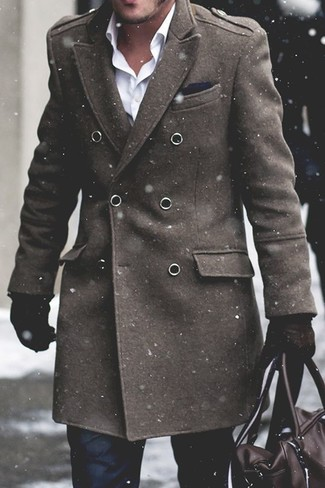 How to wear: olive overcoat, white dress shirt, black dress pants, dark brown leather holdall