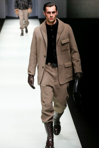 How to wear: brown overcoat, black dress shirt, brown wool dress pants, dark brown leather knee high boots