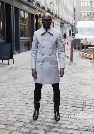 A Burberry men's London Gray Wool Cashmere Trench Coat and black dress pants are great essentials to incorporate into your current wardrobe. If you don't want to go all out formal, rock a pair of black leather chelsea boots. Warmer days call for cooler outfits like this one.