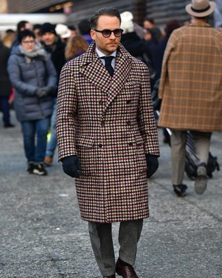 How to wear: brown houndstooth overcoat, light blue vertical striped dress shirt, charcoal plaid dress pants, dark brown leather derby shoes