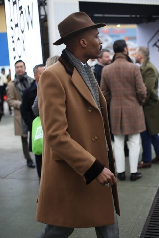 How to wear: camel overcoat, white dress shirt, grey plaid dress pants, dark brown wool hat
