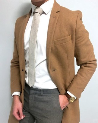 How to wear: brown overcoat, white dress shirt, grey dress pants, beige tie