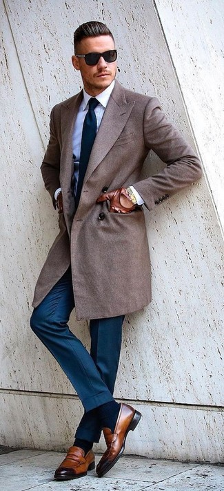 How to wear: brown overcoat, white dress shirt, blue dress pants, brown leather loafers
