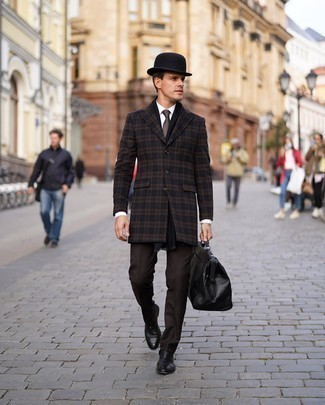 Dark Brown Dress Pants Outfits For Men: You're looking at the undeniable proof that a navy plaid overcoat and dark brown dress pants look awesome when you team them up in a refined look for today's man. Complete this ensemble with a pair of black leather loafers et voila, the outfit is complete.