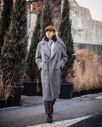 Dark Brown Socks Winter Outfits For Men: Why not team a grey herringbone overcoat with dark brown socks? As well as super comfortable, both of these pieces look awesome when paired together. To introduce a little fanciness to this ensemble, complement your ensemble with dark brown suede oxford shoes. Picking out a standout combo can be a bit of a challenge on its own. Enter extra cold temperatures into the equation, and the whole thing becomes all the more difficult. No worries, this here is your wintry inspo.