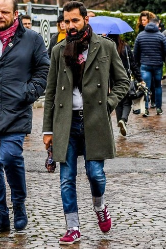 How to Wear a Dark Brown Print Scarf For Men: Pair an olive overcoat with a dark brown print scarf to achieve new heights in your personal style. A pair of red suede low top sneakers can integrate brilliantly within a myriad of ensembles.