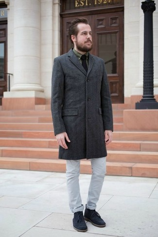 How to Wear a Black Knit Tie For Men: For a look that's nothing less than wow-worthy, opt for a charcoal overcoat and a black knit tie. Navy suede desert boots will add a more casual spin to an otherwise dressy look.