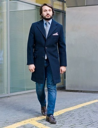 Dark Brown Leather Tassel Loafers Cold Weather Outfits: Make a navy overcoat and navy jeans your outfit choice for a neat refined look. And if you want to easily level up this look with one single item, why not introduce a pair of dark brown leather tassel loafers to the equation?