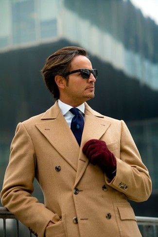 How to wear: camel overcoat, white dress shirt, navy tie, burgundy suede gloves