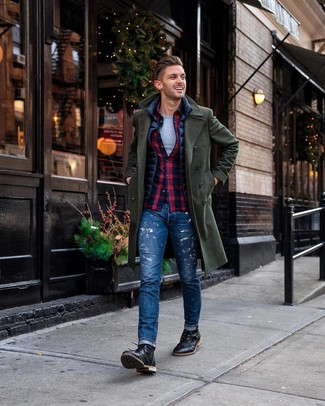 How to wear: dark green overcoat, navy gilet, navy and red plaid long sleeve shirt, grey crew-neck t-shirt