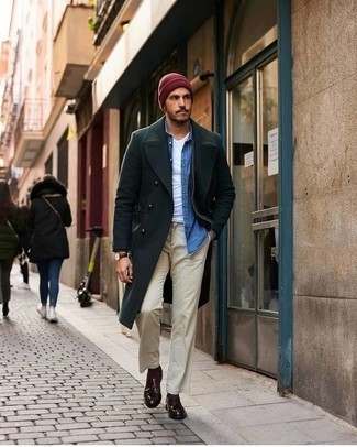 Dark Brown Socks Winter Outfits For Men: Flaunt your chops in men's fashion by combining a dark green overcoat and dark brown socks for a laid-back look. Complete your outfit with a pair of dark brown leather tassel loafers to effortlessly bump up the wow factor of any outfit. Picking out a well-coordinated combo can be a bit nerve-racking and time consuming on its own. Add below-freezing temps into the equation, and the whole thing becomes even more difficult. No worries, this here is your wintry outfit inspiration.