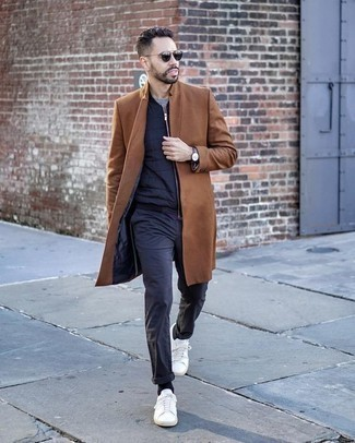 How to Wear Chinos: A tobacco overcoat and chinos teamed together are a savvy match. Go the extra mile and jazz up your ensemble by sporting white canvas low top sneakers.