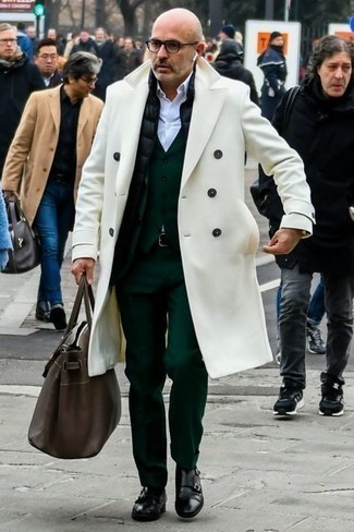 Jacket Cold Weather Outfits For Men: A jacket and a white overcoat are absolute staples if you're planning a smart casual wardrobe that holds to the highest menswear standards. Get a little creative when it comes to shoes and complete your ensemble with a pair of black leather double monks.