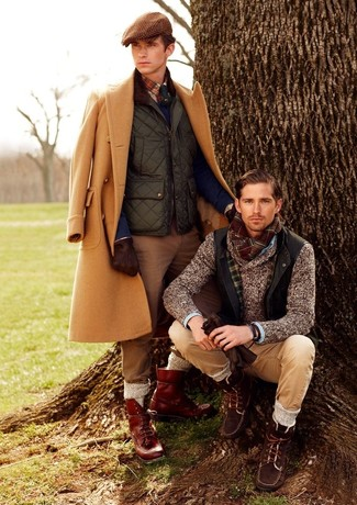 Brown Plaid Flat Cap Outfits For Men: Go for something casual yet on-trend in a camel overcoat and a brown plaid flat cap. Feeling bold? Spice up this look with a pair of burgundy leather casual boots.