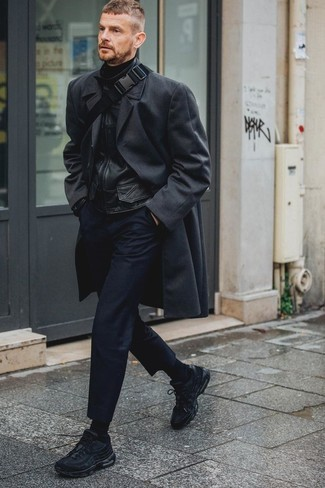How to Wear Navy Chinos: For an outfit that's very straightforward but can be dressed up or down in a multitude of different ways, wear a black overcoat with navy chinos. For something more on the casually cool side to round off your outfit, complement your ensemble with black athletic shoes.