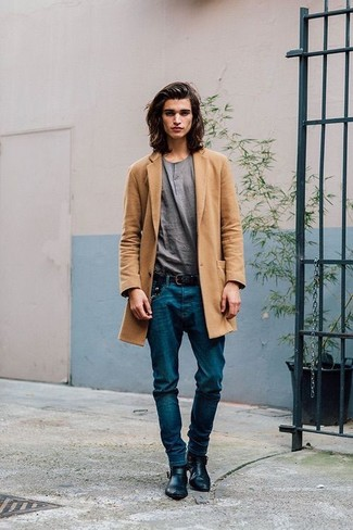 How to wear: camel overcoat, grey henley shirt, blue jeans, black leather chelsea boots