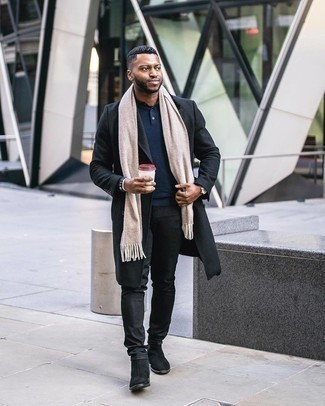 Coat Outfits For Men: Pair a coat with black jeans for laid-back elegance with an alpha male finish. To give your overall outfit a more polished spin, why not complete your ensemble with black suede chelsea boots?