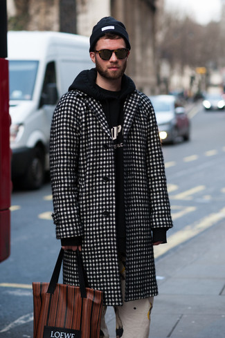 How to wear: black and white check overcoat, black and white print hoodie, white print chinos, brown print leather tote bag