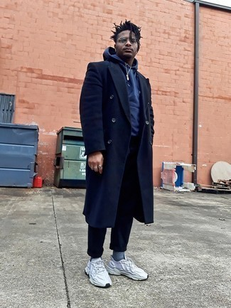 Navy Overcoat Outfits: A navy overcoat and navy chinos paired together are a perfect match. Infuse an air of stylish nonchalance into your ensemble with a pair of grey athletic shoes.