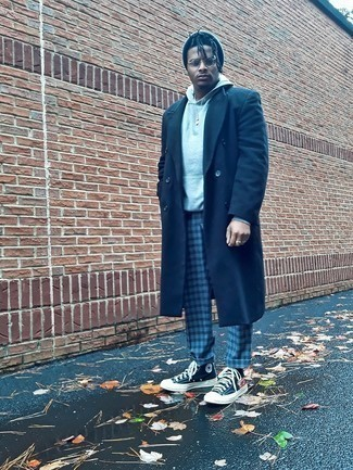 Navy Overcoat Outfits: A semi-casual combo of a navy overcoat and grey check chinos is relevant in many different circumstances. Complement this look with navy print canvas high top sneakers to immediately bump up the cool of your getup.