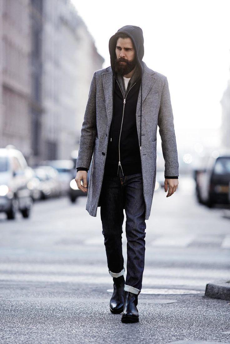 Black hoodie white crew neck t shirt black jeans men s fashion