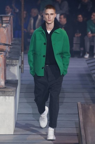 How to wear: green overcoat, black hoodie, white crew-neck t-shirt, charcoal dress pants