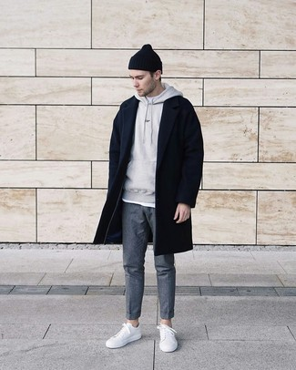 How to Wear a Grey Hoodie For Men: Marry a grey hoodie with grey wool chinos to feel infinitely confident and look stylish. White leather low top sneakers make this look complete.