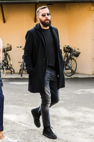 How to Wear Black and Gold Sunglasses For Men: If you're looking for a street style but also sharp outfit, wear a black overcoat with black and gold sunglasses. The whole ensemble comes together when you introduce a pair of black suede high top sneakers to the equation.