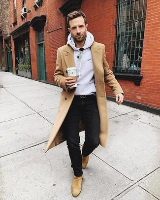 How to wear: camel overcoat, grey hoodie, black jeans, tan suede chelsea boots